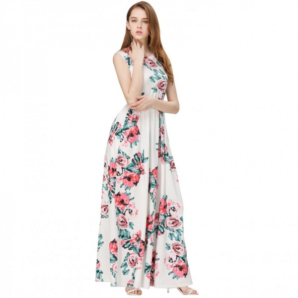 Women Fashion White Color Digital Printing Sleeveless Maxi Dress image