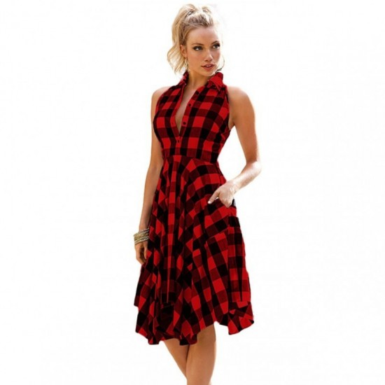 Women Fashion Plaid Sleeveless Irregular Thin Coat Mini Dress-Red image