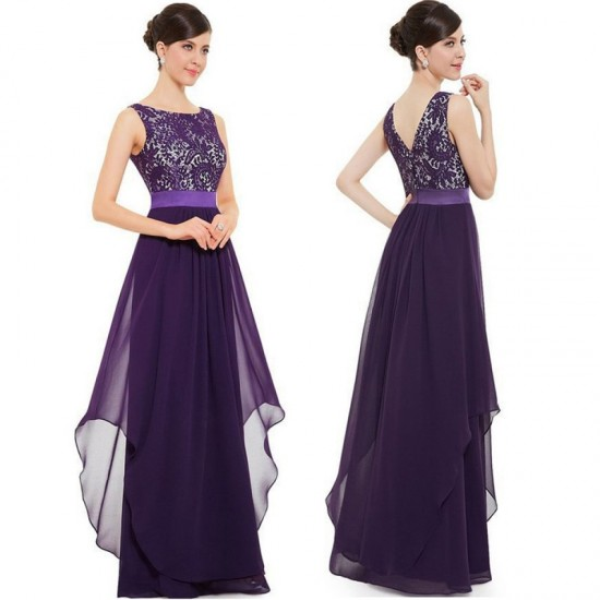 Elegant Lace & Chiffon Long Maxi Evening Party Dress-Purple image
