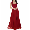Princess Style With Long Lace Hollow Small Back V Neck Maxi Red Dress image