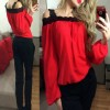 Womens Fashion Wind Long Sleeve Cotton Red Color Shirt image