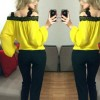 Womens Fashion Wind Long Sleeve Cotton Yellow Color Shirt image