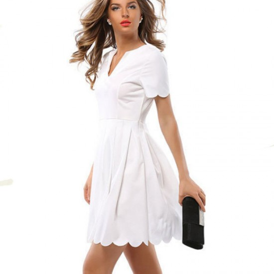 Women Fashion V Neck White Color Short Sleeve Pleated Petals Wave Skirt image