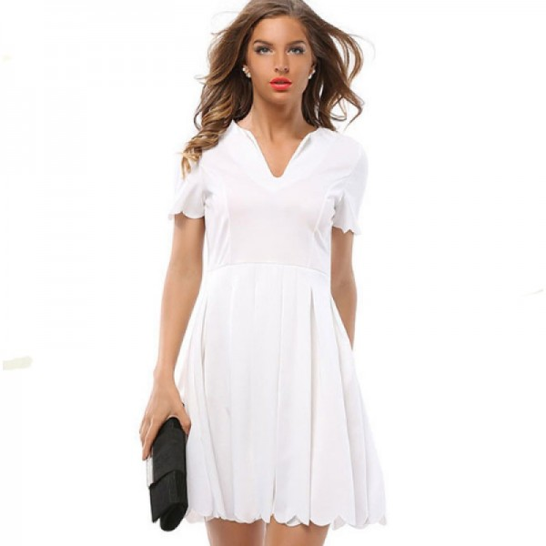 Womens Fashion V Neck White Color Short Sleeve Pleated Petals Wave Skirt image