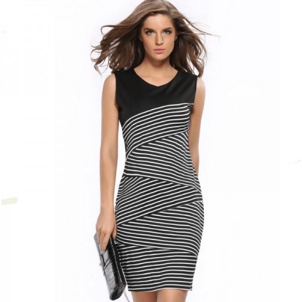 Womens Fashion V Neck Collar Striped Stitching Sleeveless Black Skirt image