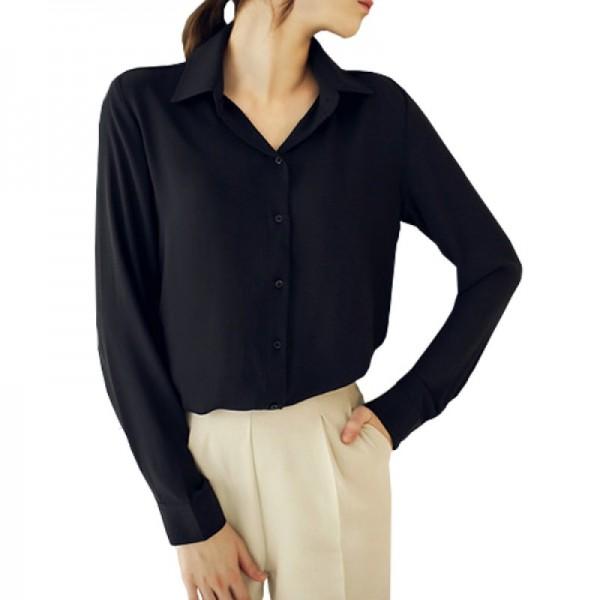 Womens Fashion V Collar Black Color Stripe Long Sleeve Chiffon Shirt image
