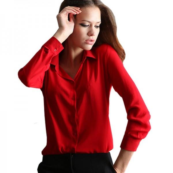 Womens Fashion V Collar Red Color Stripe Long Sleeve Chiffon Shirt image