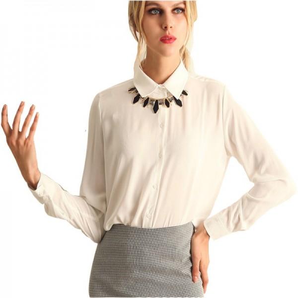 Womens Fashion V Collar White Color Stripe Long Sleeve Chiffon Shirt image