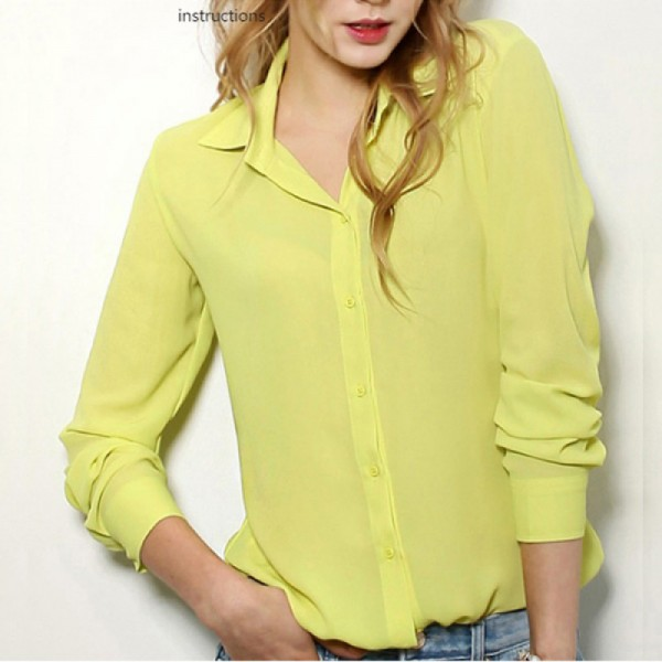 Womens Fashion V Collar Yellow Color Stripe Long Sleeve Chiffon Shirt image