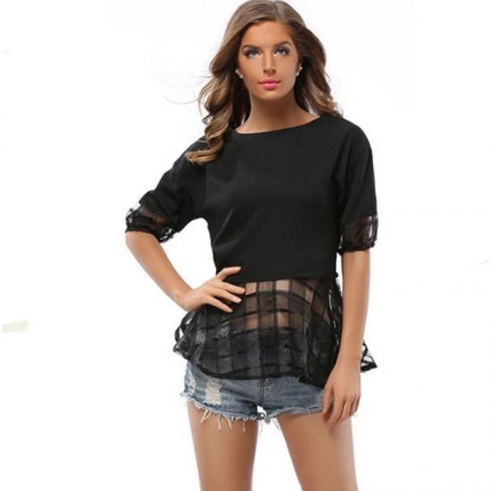 Women Fashion Loose Thin Snow Spinning Chiffon Shirt-Black image