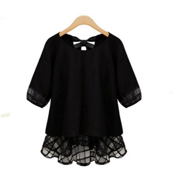 Women Fashion Loose Thin Snow Spinning Chiffon Shirt-Black image