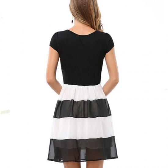 Women Fashion Black And White Round Neck Short Sleeved Chiffon Mini Dress image