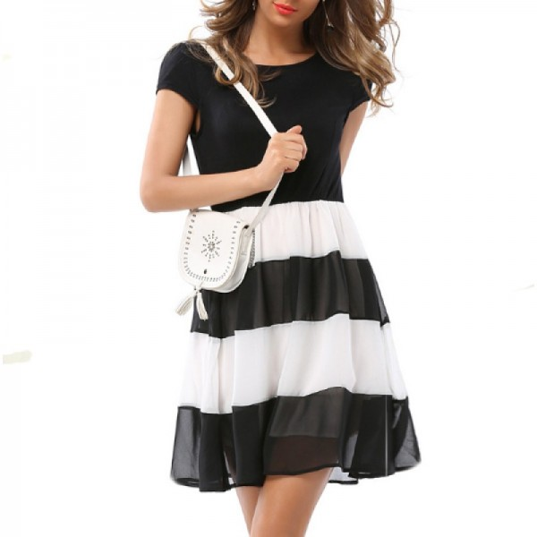 Womens Fashion Black And White Round Neck Short Sleeved Chiffon Mini Dress image