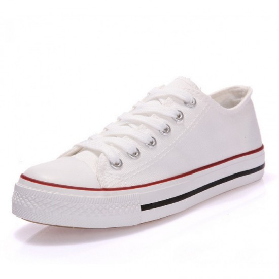 Women White With Red Lines Comfty Canvas Shoes For Women image