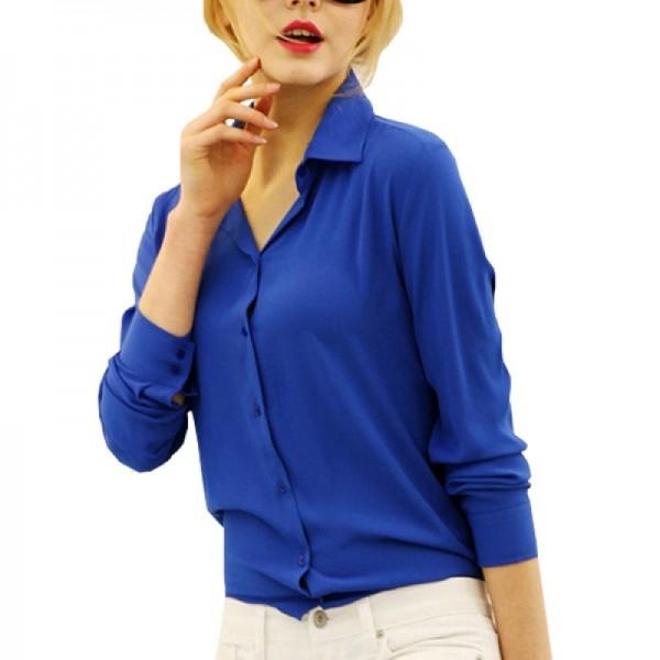 Womens Fashion V Collar Blue Color Stripe Long Sleeve Chiffon Shirt image