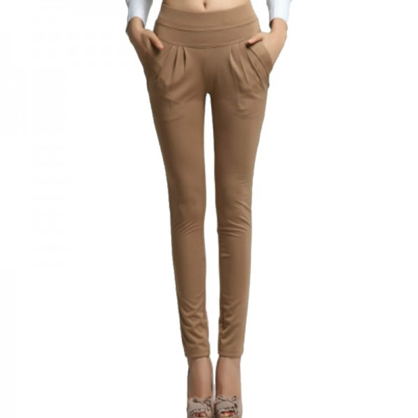Spring and Autumn Brown Real Shot Casual Harem Pants Trousers image