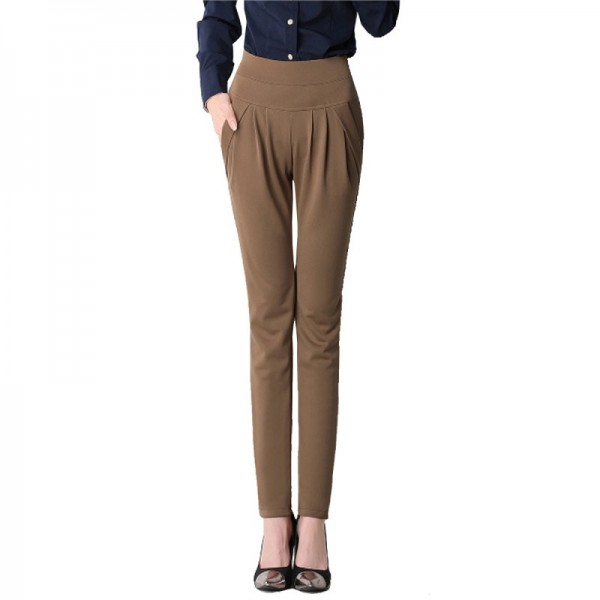 Spring and Autumn Dark Brown Real Shot Casual Harem Pants Trousers image