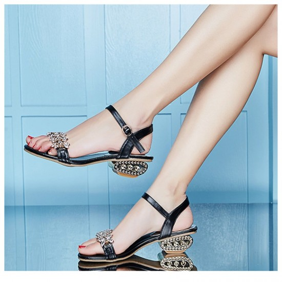 Summer Stylish Fish Mouth Diamond High Heel Buckle Sandals-Black image