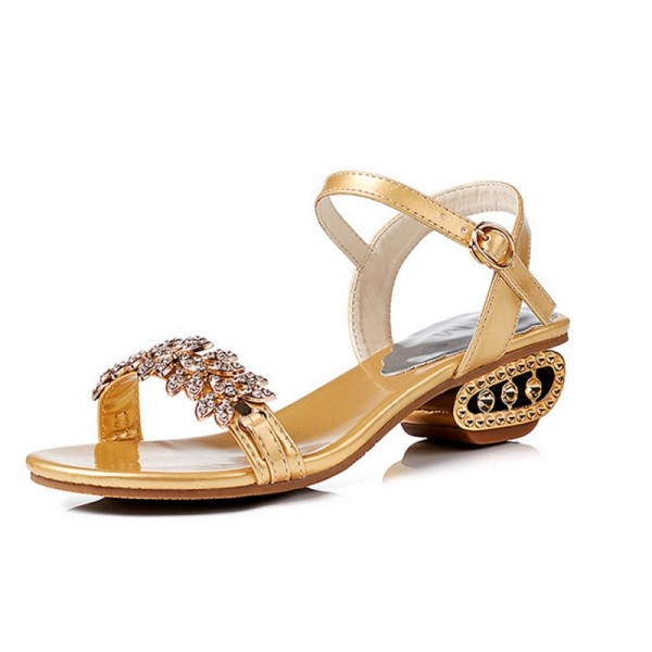 Summer Stylish Fish Mouth Diamond High Heel Buckle Gold Sandals image