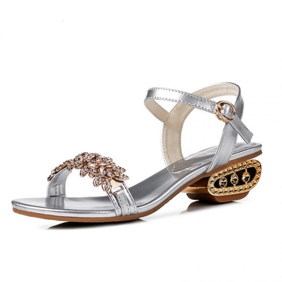 Summer Stylish Fish Mouth Diamond High Heel Buckle Sandals-Silver image