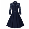 Retro Hepburn Stitching Slim Lace Half Sleeves Blue Dress image