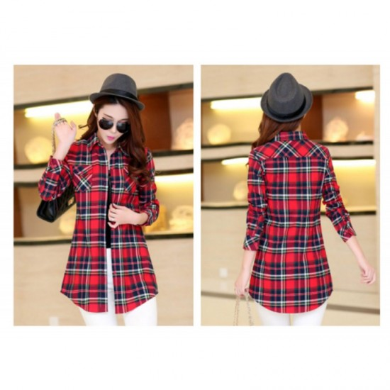 Women Long Paragraph Plaid Cotton Long Sleeve Casual Shirt-Red & Black image
