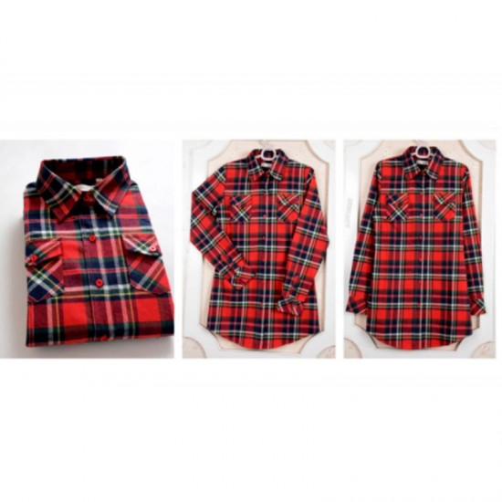 Women Long Paragraph Plaid Cotton Long Sleeve Casual Shirt-Red & Black image