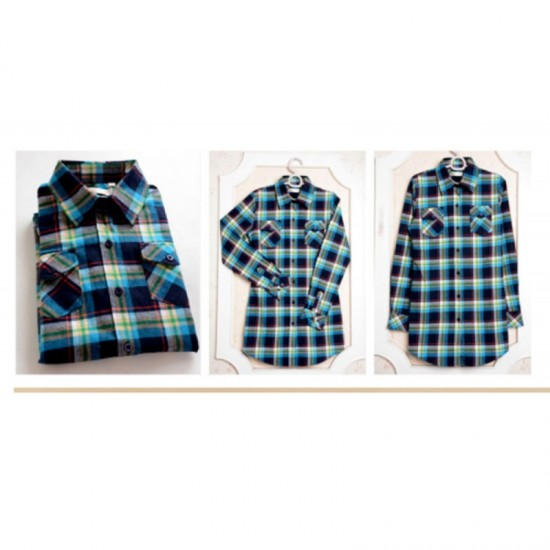 Women Long Paragraph Plaid Cotton Long Sleeve Casual Shirt-Blue image