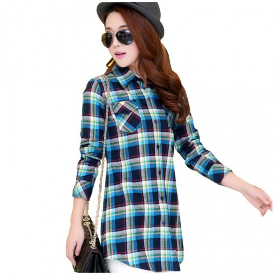 Women Long Paragraph Plaid Cotton Long Sleeve Casual Shirt-Blue image