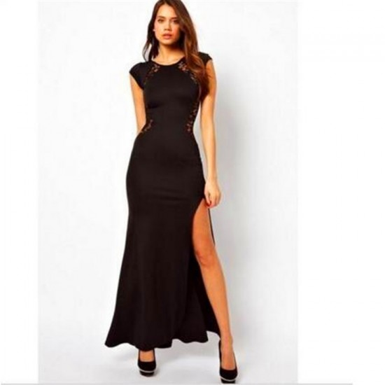 Women New Fashion Maxi Dress with Lace Back and Fishtail Dress-Black image