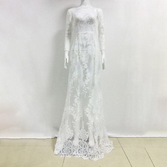 Summer Sexy Long Transparent Lace Round Neck Evening Dress-White image