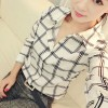 Women Fashion Lattice Simple Black And White Long-Sleeved Shirt image