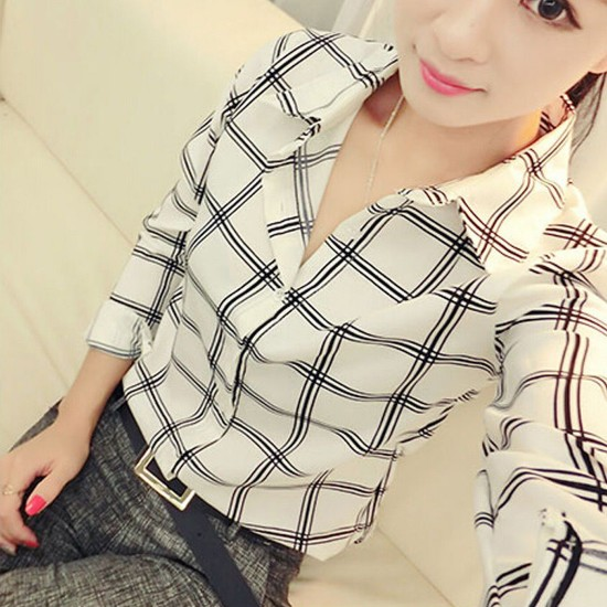 Women Fashion Lattice Simple Long-Sleeved Shirt-White image