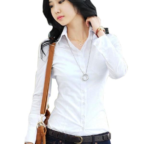 Women Summer Cotton Long Sleeves White Casual Shirt image