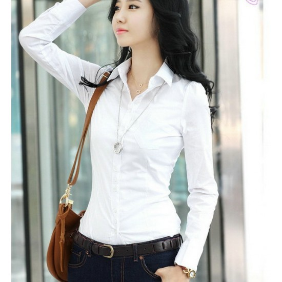 Women Summer Cotton Long Sleeves Casual Shirt-White image
