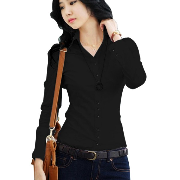 Women Summer Cotton Long Sleeves Black Casual Shirt image