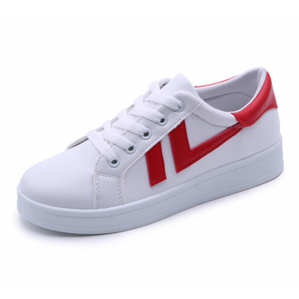 Women Red Strapped White Comfort Sports Jogger Shoes image