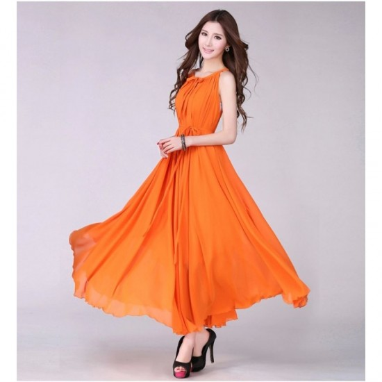 Sleeveless Bohemian Beach Maxi Chiffon Dress For Women-Orange image