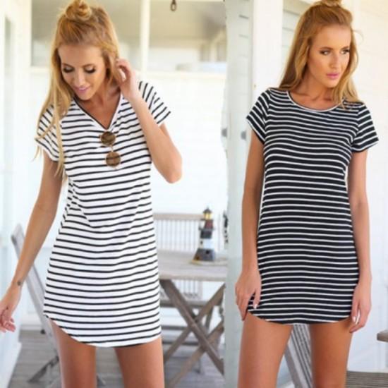Women Striped Sea Soul Waist Round Neck Short Mini Dress-White image