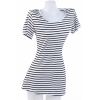 Women Striped Sea Soul Waist Round Neck Short Mini White Dress image