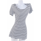 Women Striped Sea Soul Waist Round Neck Short Mini Dress-White image
