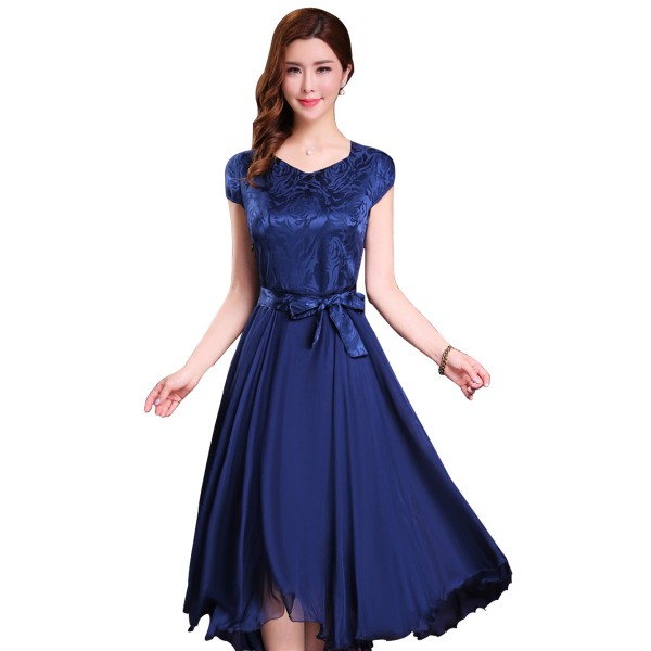 Women Summer Elegant Navy Blue Short Sleeved Slim Pleated Party Dress image