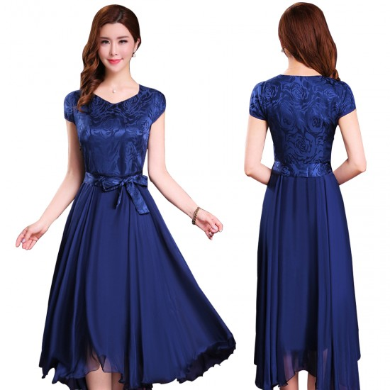Women Summer Elegant Short Sleeved Slim Pleated Party Dress-Navy Blue image