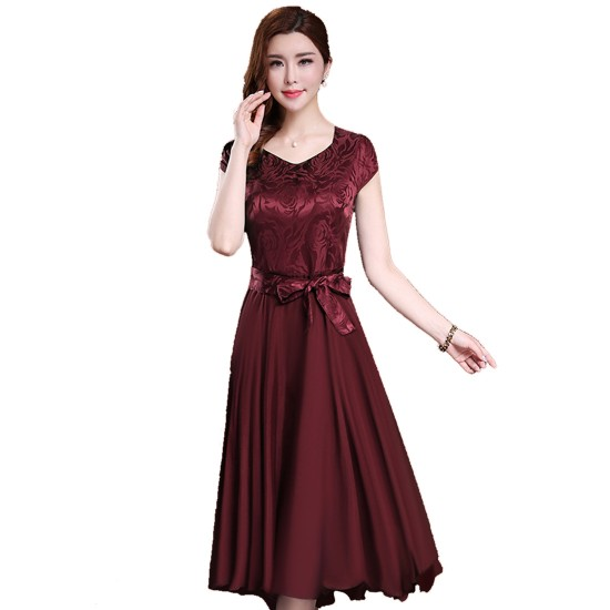 Women Summer Elegant Short Sleeved Slim Pleated Party Dress-Maroon image