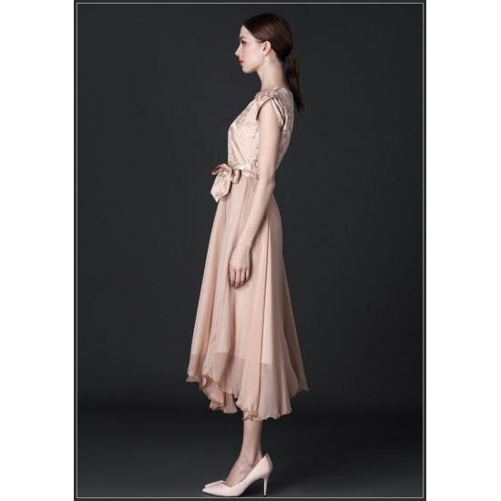 Women Summer Elegant Short Sleeved Slim Pleated Party Dress-Gold image