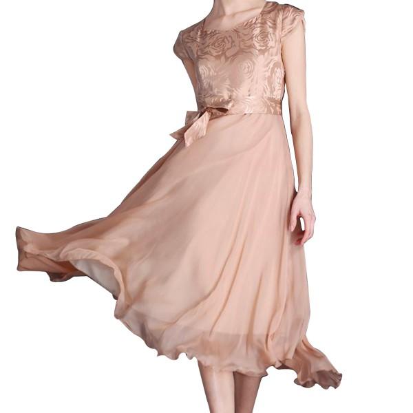 Women Summer Elegant Gold Short Sleeved Slim Pleated Party Dress image