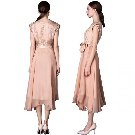 Women Summer Elegant Short Sleeved Slim Pleated Party Dress-Gold image