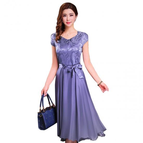 Women Summer Elegant Short Sleeved Slim Pleated Party Dress-Purple image