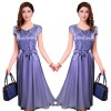 Women Summer Elegant Purple Short Sleeved Slim Pleated Party Dress image