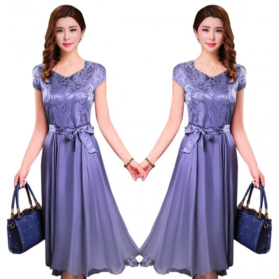 Women Summer Elegant Short Sleeved Slim Pleated Party Dress-Purple image